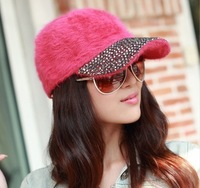HOT! 2013 Korean Style Soft Rabbit Fur Fake-diamond Decorated Young Lady Hat Winter Outdoor Head Accessory Women Baseball Caps