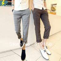Free Shipping 2013 Cotton Vintage Plaid Fresh Fashion Slim Series Male Casual Pants Ankle Men's Length Trousers