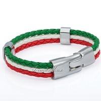 Customized Italy Flag Style Rope Surfer Leather Bracelet Wristband  Wholesale Fashion Unisex Mens  Womens Leather Bracelet LB141