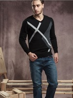 2013 new spring autumn (fall) winter men's fashion bottoming wild collision color V-collar sweater cotton tops blouse