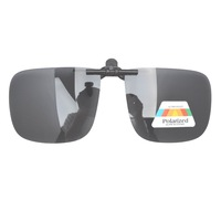 Free Shipping F9 Patented Large Polarized Flip up Sunglasses Clip on With Hard Plastic Case Gray