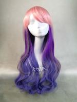 free shipping  80cm women harajuku lolita pink red purple  gradient wave anime cosplay wigs