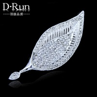 New Fashion Sweet Full Rhinestone Leaf Brooch Gold and Silver Brooches Ms wedding Pins Ac019