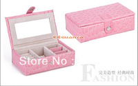 Hot! Rectangular crocodile grain leather jewelry boxes, cosmetic boxes make-up box Many color wholesale Free shipping