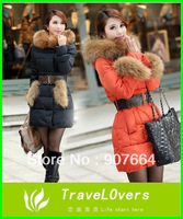 2013 New Arrivel Women's Winter Luxury Large Fur Collar Slim Medium-long Thickening Down Coat/Tops Women Clothing Winter