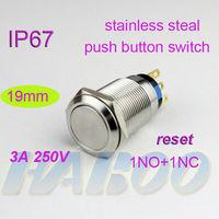 10pcs/lot IP67 19mm waterproof anti-vandal reset momentary metal stainless steel push button switch