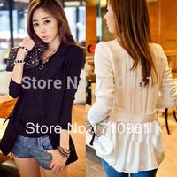 2014 Slim Chiffon Patchwork Blazer Blaser Feminino Limited Real  Outerwear Female Turn-down Collar Long-sleeve Suit Jacket 9294#