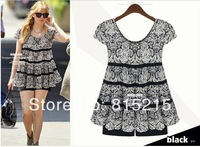 PMM9842 2013 new design women autumn  waist chiffon  short-sleeved bottoming shirt size   XL-5XL  lady blouse