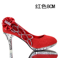 2014 new  wedding shoes red shoes high-heeled shoes gold bridal shoes rhinestone flower silver bridesmaid  women's  pumps