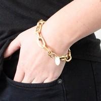 Punk Gold Plated Spike Rivet Charms Bracelet Chain Women BMB025 Magi Jewelry
