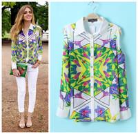 Free shipping American European Fashion off shoulder long sleeve women's geometric doodle/scribble pattern print shirt/blouse