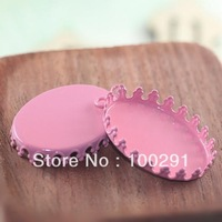Free ship! 200pcs 18*25mm oval  with loop Pink color  Pendant base blanks jewelry link connector charms gemstone cameo setting