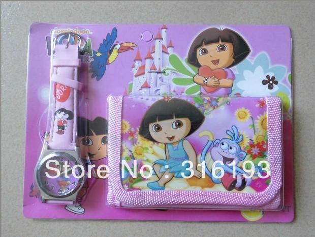 Hot sale dora Watch/Cartoon Gift watch + purse wallets / 1pcs wallets(China (Mainland))