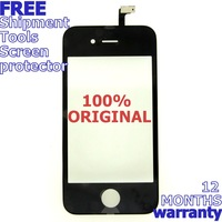 100% ORIGINAL Black Replacement Digitizer Glass Frame for iPhone 4 Touch Screen +9 TOOLS with free shipment and screen protector