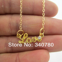 Love gift for her pendant necklace 6 pcs Small gold Love Script charm Necklace with one shining sparking rhinestone free ship