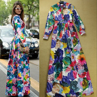 Boutique New Fashion Designer Long Dress Women's colourful Floral Print Elegant Mopping Floor Maxi Long Dress Party Full Dress
