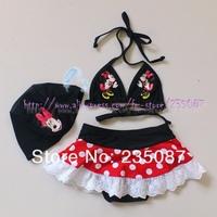 Retails (3-7Y) Kids Girls Minnie Mouse Bikini Swimsuit with Matching Cap Girls Bathing Suit Petti Skirt Swimwear Free Shipping