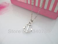 Fashion Pendant Neckalce SALE - Back To School Sale Sideways Silver Anchor Necklace 6 pcs free shipping NK001