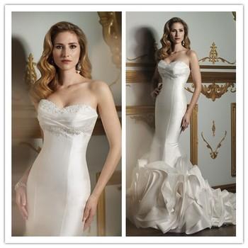2014 Elegant Mermaid Sweetheart Appliques Beading Ruched Satin Wedding Dresses White/ivory Bridal Gown Custom-made OE-20