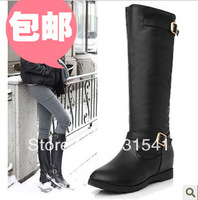 Fashion Genuine Leather Buckle Strap Women Knee High Flat motorcycle Knight Boots