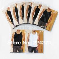 Mens undershirt Pure cotton White/black tank top hot selling men vest Size S-XL Free Shipping