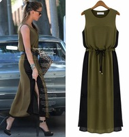 Dress Women New Fashion 2013 Maxi Dress Chiffon Dress Sleeveless Tank Top Patchwork Long Dress Black Khaki Block SS13D008