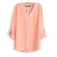 2013 New Autumn Ladies Long Sleeve Chiffon Shirt  Rivet On Shoulder  Decoration  Loose Blouse,No Button Casual Style c214