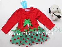 Christmas New Year red long-sleeved dress girls dress  free shipping