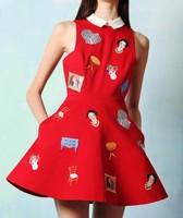 2013 free shipping new summer embroidered  cartoon doll print sleeveless women dress