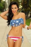 Women Bikini Swimwear American flag usa stars Sexy Swimsuit Top and Bottoms Print Swimsuit Free Shipping by Epacket vintage