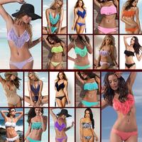 2014 new women clearance sale Latest Fringed Bandeau Bathing Suit Bikini Set For Women tassel bikini