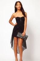 New 2014 Sexy Women Sleeveless Summer Prom Casual Mini Dress Black Bandeau Dress with Asymmetric Hem Drop Shipping Hot Sale