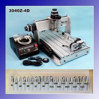 """4 Axis CNC Engraver Engraving Cutting Machine CNC 3040 3040Z-4D Ball Screw + 20x 3.175mm 1/8"""" Tungsten Carbide Cutter"""