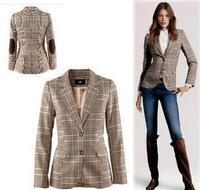 2013 Brand Vintage Fashion Handsome Slim Plaid Patch women Blazer Outerwear Size M/L/XL/XXL single breasted patchwork jacket