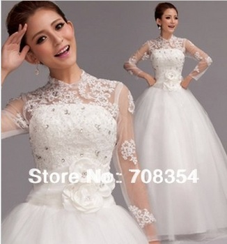 New Style Luxury Noble CZ Diamond 3D Pretty Flowers Long Sleeve Exquisite Lace Ball Gown Wedding Dress 653