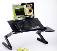 Free shipping foldable laminating laptop desk notebook table portable computer stand with fan and mouse table