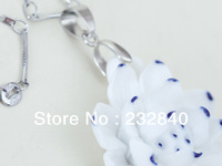 Jingdezhen Ceramic Jewelry 925 Fine Silver  Blue and white porcelain Flower Lovely Ceramic Pendant jewelry Necklace.From China.