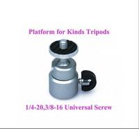 1/4'' mini Brand New 1PC Silver Mount Adapter Tripod Platform 360 Swivel Ball Head for Digital Camera Tripod Free Shipping
