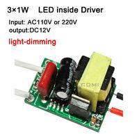 Free shipping 3X1W led driver, lamp driver, AC110V 220v high quality LED power supply input for E27 GU10 E14 LED lamp, spotlight
