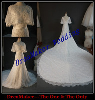 DMW039 Dreamaker long long tail fully beaded high neck sexy vintage lace luxury wedding gowns 2013 dresses