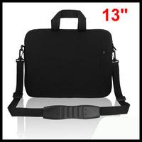 """13"""" 13.3"""" Black Notebook Laptop Shoulder Bag Case w Handle"""