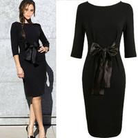Spice Girl Victoria Beckhams stitching color waist  lace belt bow knit dress,S,M,L,XL