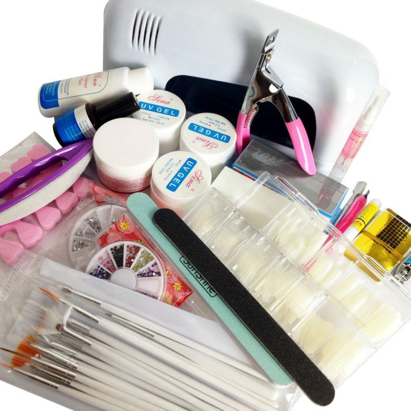 9W-UV-GEL-Lamp-light-cure-NAIL-KIT-Powder-buffer-brush-glue-Tips