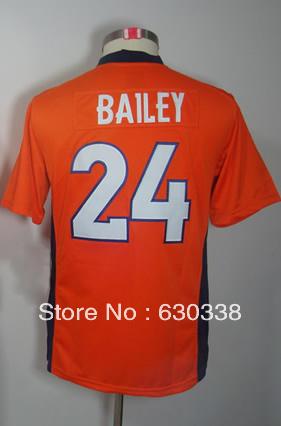 Child Football #24 Champ Bailey Jersey Kids Youth Game Team Orange Football Jersey Champ Bailey Kids Football Jersey(China (Mainland))