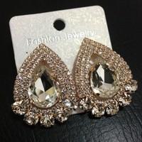 Free Shipping Fashion Cute 18K Gold Plated Water-Drop Shape Sexy Full Rhinestone Stud Earrings