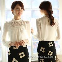 2014 New Shirt Women Blouses Long Sleeve Flower Lace Chiffon Blouse Top Blusas Femininas Plus Size Clothing Free Shipping 0788