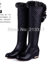 Tying the feet new arrival casual over-the-knee genuine leather rabbit fur black and white boots side zipper lacing