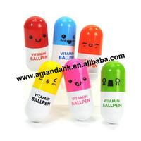 2013 Office supplies Retractable pen/Ball point cartoon Telescopic face Capsule pills Pen Wholesale 500pcs/lot