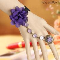 Fashion flower vintage lace women's bracelet one piece chain goths gift jewelry noble purple color women jewelry 0255