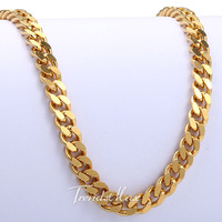 CUSTOMIZE SIZE 5MM 18K Gold Filled Necklace Curb Cuban Chain Necklace Mens Chain Women Necklace Wholesale jewelry 18-36inch GN44